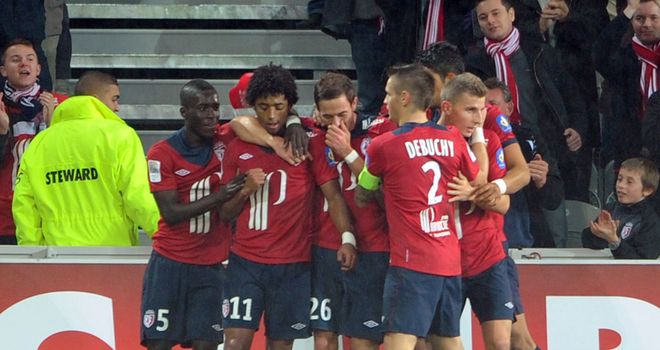 Lille celebrate against AC Ajaccio