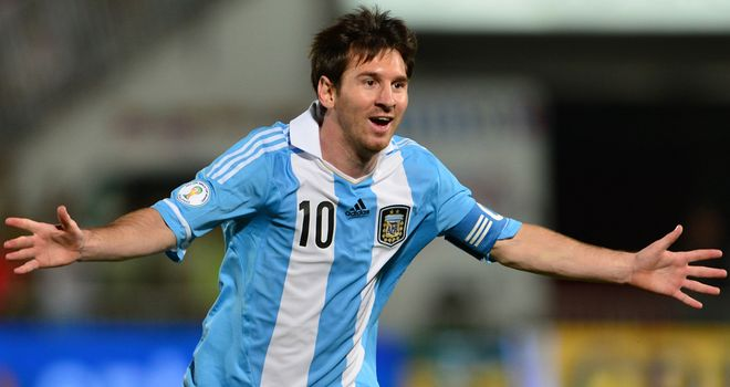 Lionel Messi: Celebrates in Santiago after scoring in Argentina's win over Chile