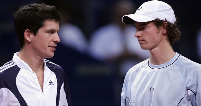 Andy Murray (right) and Tim Henman in Basle seven years ago