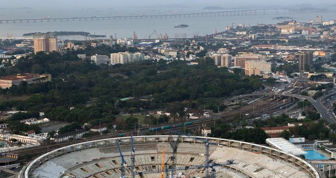 Maracana Stadium in Rio still under construction