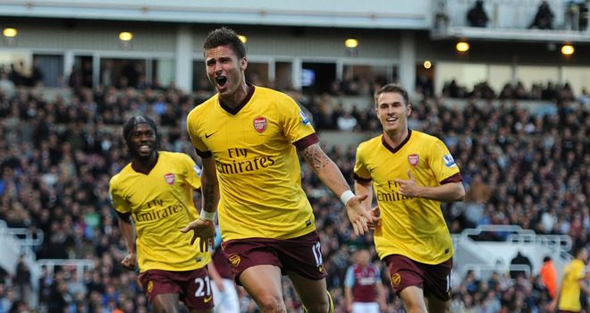 Olivier Giroud. The French striker scored his first league goal in Arsenal's win at West Ham