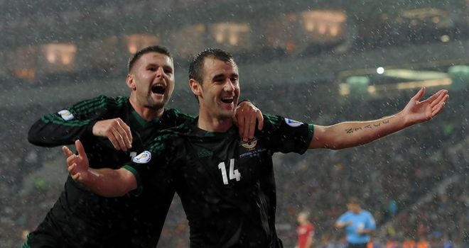 Niall McGinn: Ecstatic after giving Northern Ireland the lead in Portugal