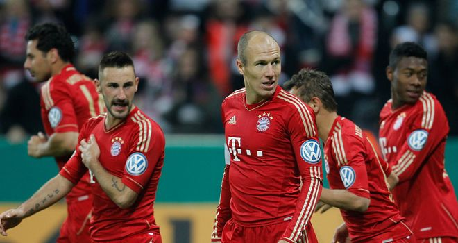 Arjen Robben: Celebrates after goal for Bayern