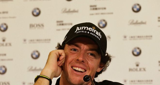 Rory McIlroy speaks to the press after his second round 65