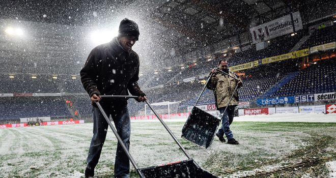Snow joke: Bad weather has decimated the football programme this weekend.