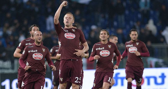 Kamil Glik celebrates his goal for Torino