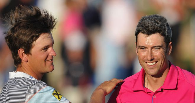 Bernd Wiesberger (L) and Ross Fisher: Will form Sunday's final group once again