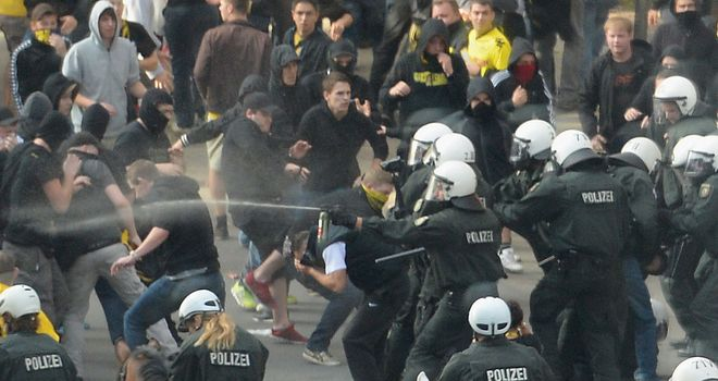 Police clash with supporters in Dortmund ahead of the derby