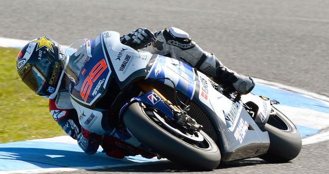 Jorge Lorenzo: Fastest in wet testing session in Spain