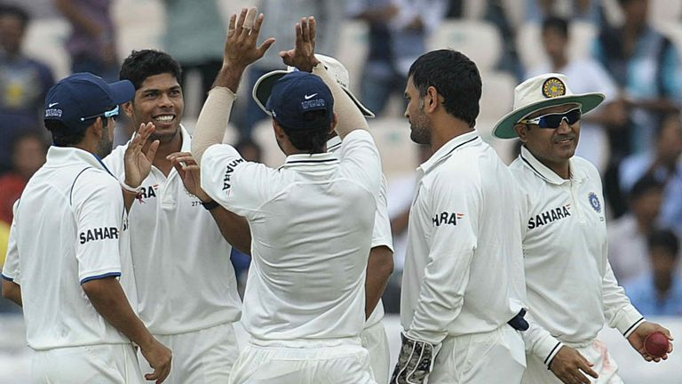 High-fives for Umesh Yadav after a wicket in recent series with New Zealand