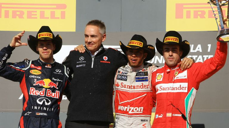 McLaren's Whitmarsh and Hamilton ended up sharing the podium with Ferrari's Alonso