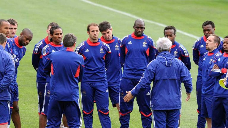 Raymond Domenech: Coach speaks to France squad at 2010 World Cup