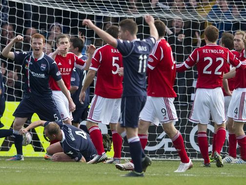 Ross County celebrate against Aberdeen