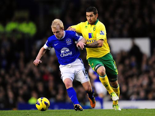 Steven Naismith holds off Bradley Johnson