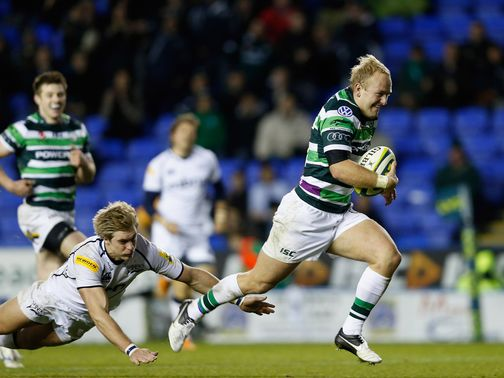 Shane Geraghty scores a try for London Irish