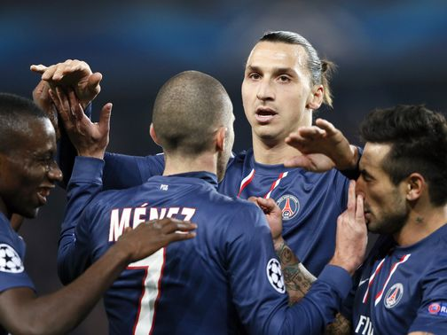 Zlatan Ibrahimovic leads the celebrations for PSG