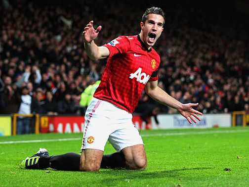 Robin van Persie celebrats his goal against West Ham