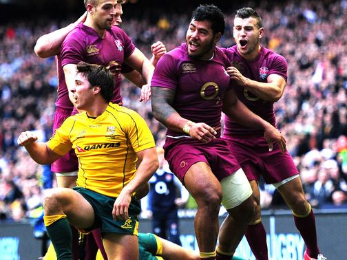 Manu Tuilagi celebrates his England try