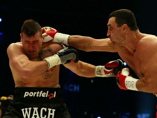 Wladimir Klitschko lands with a right