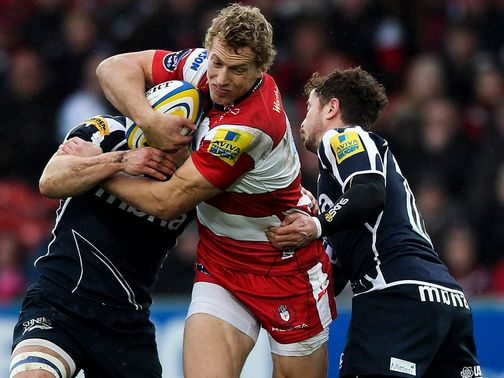 Billy Twelvetrees drives forward for Gloucester