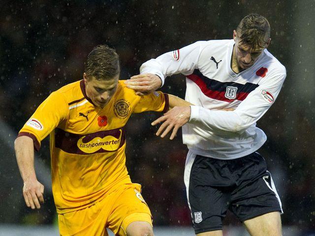 Henrik Ojamaa holds off Dundee's Iain Davidson