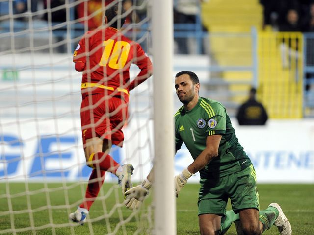 Andrija Delibasic celebrates for Montenegro