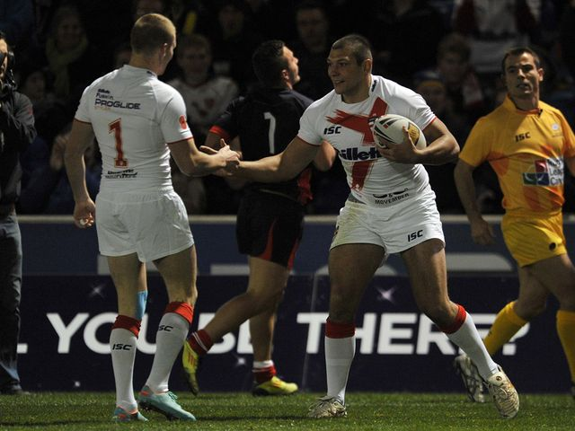 Ryan Hall celebrates one of his four tries