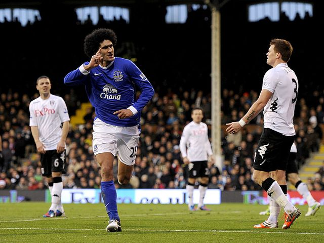 Marouane Fellaini scored two goals for Everton