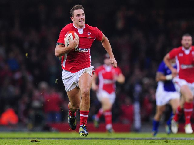 Ashley Beck scores his first try for Wales