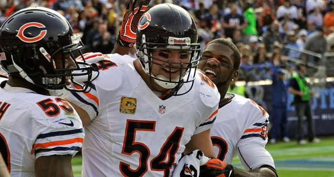Brian Urlacher: Touchdown run back for Chicago Bears