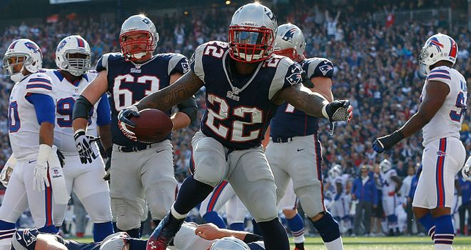 Stevan Ridley runs in a score for the New England Patriots