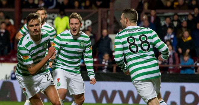 Mikael Lustig (left): Celebrates a goal against Hearts