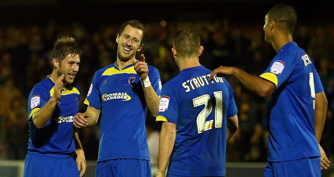 AFC Wimbledon players celebrating their FA Cup replay win over York City