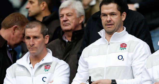 Stuart Lancaster (left) with Andy Farrell: England coach frustrated by defeat