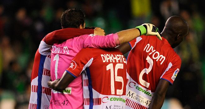 Granada: Celebrating win at Betis