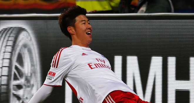 Heung-min Song celebrates the only goal