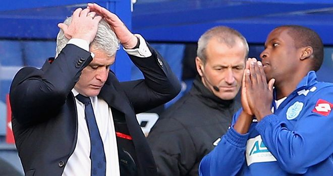 Mark Hughes: Shows his frustration against Reading