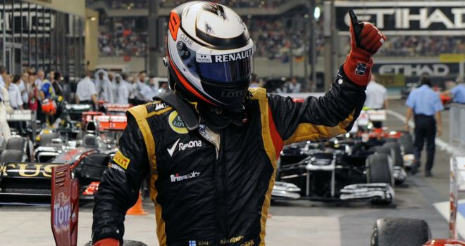 Kimi Raikkonen celebrates his victory this weekend in Abu Dhabi