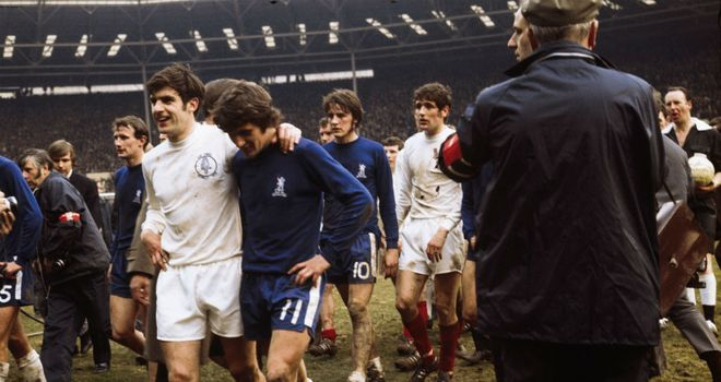 Leeds v Chelsea: The teams trudge off after battling out a 2-2 draw at Wembley in the 1970 FA Cup final
