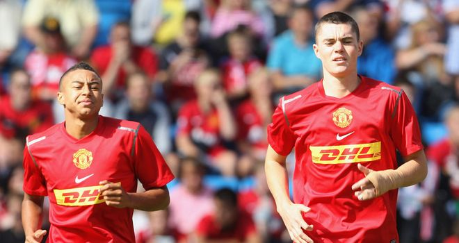 Michael Keane (r): Manchester United defender has extended his loan at Leicester