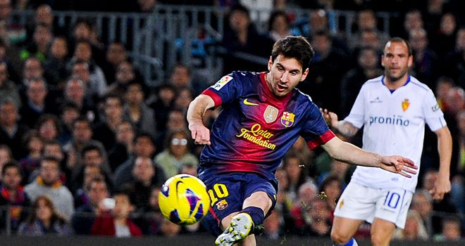 Lionel Messi: Scored twice during Barcelona's 3-1 home win over Real Zaragoza
