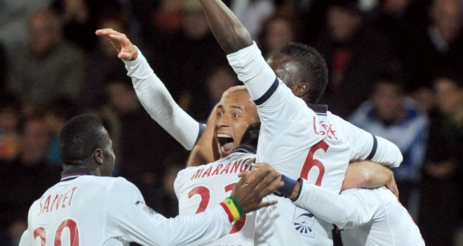 Yoan Gouffran is mobbed after scoring Bordeaux's fourth