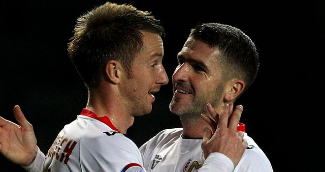 Dean Bowditch and Charlie MacDonald: Celebrating for MK Dons