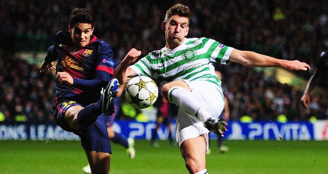 Celtic: Neil Lennon's men in action against Barcelona in last season's Champions League