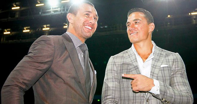 Boxing convert Quade Cooper (l) with Sonny Bill Williams