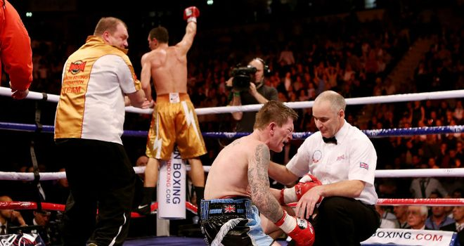 Ricky Hatton is counted out in the ninth against Vyacheslav Senchenko