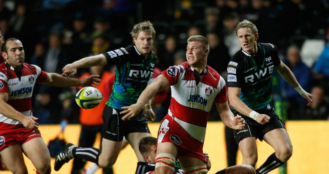 Ross Moriarty of Gloucester attempts a back-handed offload