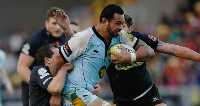 Samu Manoa makes some hard yards for Northampton