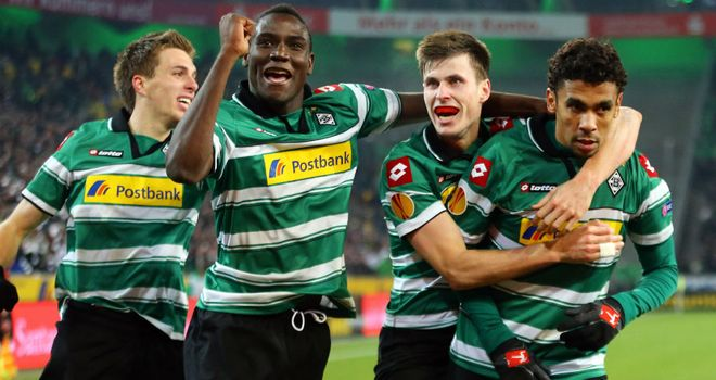 Igor de Camargo: Striker celebrates with Monchengladbach team-mates