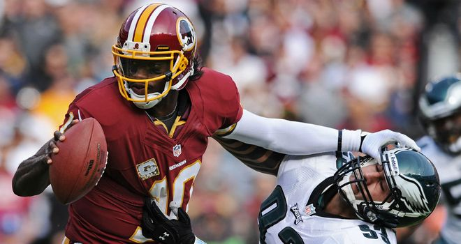 Robert Griffin III: threw a touchdown pass in each quarter of his team's victory over the Eagles